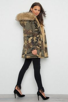Hooded Camo Parkas Wirwy - Beige - Jackor - Kläder