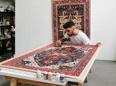 In Miami schafft Künstler Jason Seife außergewöhnliche Kunstwerke: Mit Acryl und Tinte malt er die komplizierten Muster von Perserteppichen auf Leinwände. Und zwar detailgenau.