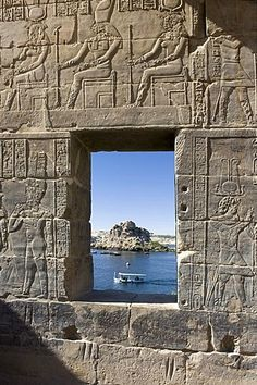 View through a stone window at the Temple of Philae, Assuan, Egypt, Africa