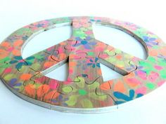 Peace Sign With Flowers Wood Puzzle | berkshirebowls - Children's on ArtFire $19.99