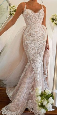 spaghetti strapst sequins detailing full lace wedding dresses george elsissai