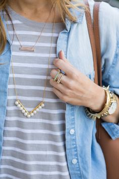 kendra scott stacked bar rings // kendra scott rose gold bar necklace // baublebar long pearl necklace