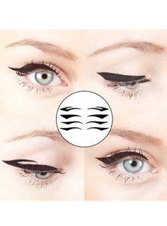 Set of 4 Pairs Black Color Cat Eyes Winged Fall Winter Makeup Eyeliner Temporary Tattoo for Dance Gift Christmas Holiday Party New Year
