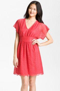 Adrianna Papell Dolman Sleeve Lace Overlay Dress