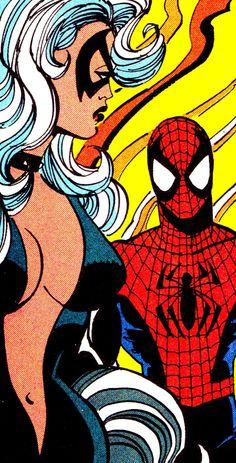 Black Cat & Spidey by Sal Buscema Comic Poster, Comic Art, Comic Books, Marvel Heroes, Marvel Comics, Spiderman Pictures, Marvel Paintings, Sal Buscema, Green Goblin
