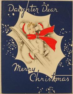 #1018 40s Lady Carries Snow Skis-Vintage Christmas Greeting Card