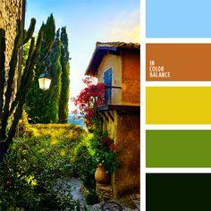 amarillo, anaranjado, anaranjado pardusco, anaranjado y amarillo, colores vivos, elección del color para hacer una reforma, paleta de colores de Italia, verde, verde claro, verde fuerte, verde oscuro.