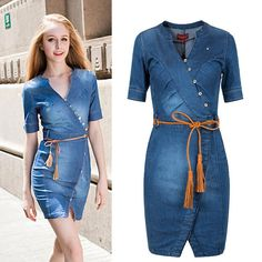 2016 new arrival women denim dress above knee women mini dress solid classic blue jean Irregular design with button sexy v-neck | OK Fashion