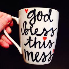 God Bless This Mess mug funny coffee mug by PickMeCups on Etsy