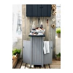 Good idea for make shift breakfast bar in a small kitchen. Love the double opening for the cabinet access.   OLOFSTORP Storage unit  - IKEA