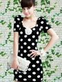 $6.85 Slimming and Charming V-Neck Polka Dot Embellished Short Sleeves Dress For Women