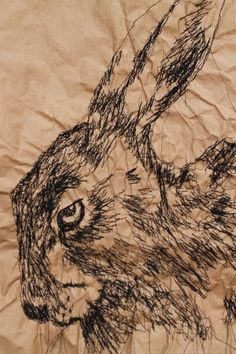 Hare Stare - Parcel paper & free motion stitch