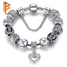 Fashion Silver Heart Charms Bracelet Bangle for Women DIY 925 Crystal Beads Fit Original Bracelets Women Pulseira Jewelry Gift * View the item in details by clicking the image