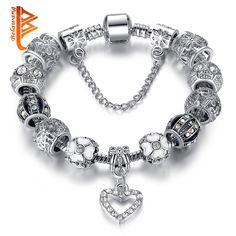 Fashion Silver Heart Charms Bracelet Bangle for Women DIY 925 Crystal Beads Fit Original Bracelets Women Pulseira Jewelry Gift