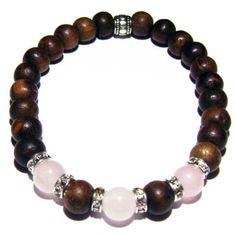 Be Adored - Sheesham Wood & Light Rose Quartz Positive Energy Bracelet | Edgy Soul
