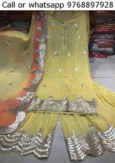 Pakistani Gharara, Pakistani Dresses, Indian Dresses, Indian Outfits, Sharara Suit, Churidar, Sharara Designs, Nice Dresses, Dresses For Work