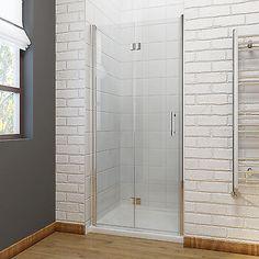 Shop ELEGANT 800 x 800 mm Bifold Shower Enclosure Glass Shower Door Reversible Folding Cubicle Door + Side Panel. Frameless Bifold Shower Doors, Shower Enclosure, Bathroom Doors, Door Installation, Bifold Shower Door, Glass Door, Bathroom Design, Bathroom