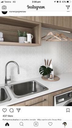 Don't need 2 sinks but love the rest Interior Design Living Room, Kitchen Remodel, Kitchen Design, Laundry Design, Kitchen Decor, Modern Kitchen, Laundry In Bathroom, House Interior, Modern Laundry Rooms