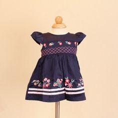 Jayden & Co Blue Floral Embroidery Baby Dress [Mix 3 For RM 100]