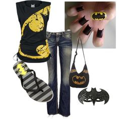 I can't not see anything Batman and automatically think about my boyfriend. Even though, I love the purse, ring, and jeans :) I Am Batman, Batman Stuff, Batgirl And Robin, Nananana Batman, Summer Outfits, Cute Outfits, Batman Outfits, Geek Fashion, Personalized T Shirts
