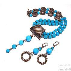 PandaHall CustomerShow----Blue Jade Beads Necklace and Earrings #PandaHall #CustomerShow  #JadeBeads #Necklace #Earrings