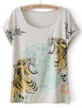 Grey Short Sleeve Two Tigers Print T-Shirt