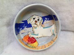 Hand Painted Ceramic Dog Bowl / Debby Carman / Faux Paw Productions by FauxPawProductions on Etsy