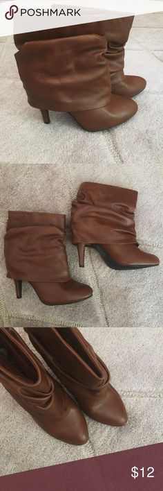 Brown Faux Leather Fold-Over Booties Brown Faux Leather Fold-Over Booties - super cute booties! Only worn once. Left shoe is slightly damaged on toe/ side of shoe (shown in last 3 pictures). Forever 21 Shoes Ankle Boots & Booties