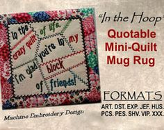 Quotable mug rug moms are like buttons mini quilt ith machine