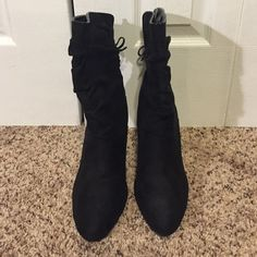 Black Heeled Boots Black suede heeled boots with a accent bow on the back. Shoes Heeled Boots