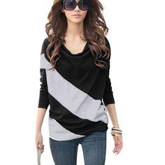 Urparcel Womens T-shirt Batwing Long Sleeve Basic Tops Blouses Block Colors