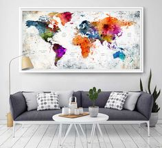 Xl map push pin world travel art print poster photo paper watercolor xl map push pin world travel art print poster photo paper watercolor old texture decor home frame is not includedp16free shipping usa pinterest gumiabroncs Gallery