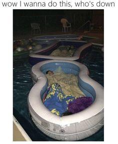 Sleeping in a kiddie on a pool