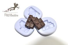 Flexible silicone mold 3D 2cm bar Chocolate by PetitMiniatures