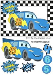 Toony turq racing car in check frame A5 on Craftsuprint - View Now!
