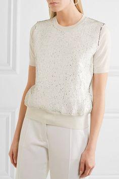 Jil Sander - Sequin-embellished Wool Sweater - Cream - FR36