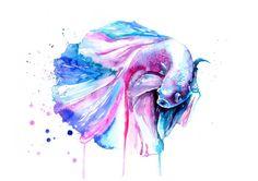 Betta Fish Watercolor painting Fashion por WatercolorMary en Etsy