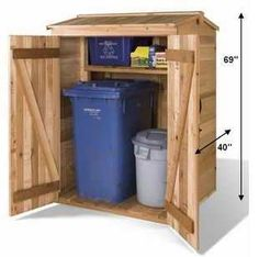 Cedarshed DIY Green Pod Sheds make a great small storage unit for housing recycling bins and garbage cans. This wooden garden shed kit includes plans. Garbage Can Storage, Garbage Shed, Cubby Storage, Small Storage, Storage Sheds, Pallet Storage, Firewood Storage, Tool Storage, Outdoor Storage Units