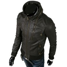 Men handmade black leather jacket front pocket with long zip collar, new zipper design jacket on Etsy, $179.99