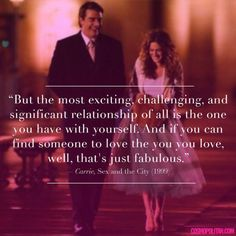 Sex and the City has the best quotes 💜 Movie Love Quotes, Great Quotes, Quotes To Live By, Inspirational Quotes, Quotes From Movies, City Quotes, Words Quotes, Sayings, Qoutes