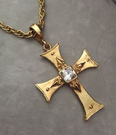 Necklace - Golden Cross with CZ by Roman Paul #romanpaul