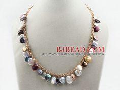 Como Hacer Collares De Perlas | Surtido de moneda multicolor collar de perlas con cadena de metal ...