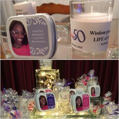 My MsPrissy50 favor table.  For my personalized votives I created inspiring spiritual facts in Publisher. I printed these messages on labels and placed them onto the candles. I placed silver strings inside plastic bags that the candles were placed in. I tied them with ribbon.