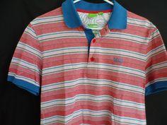 97740e86f7a6 Hugo Boss Green Label Modern Fit Polo Button Shirt Striped Red White Blue  Size M. Mens Designer ...