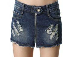 Distressed Front Zipper Cut-off Denim Shorts