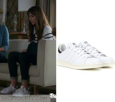 "Pretty Little Liars: Season 7 Episode 11 Spencer's White Sneakers | Spencer Hastings (Troian Bellisario) wears these white lace up sneakers in this episode of Pretty Little Liars, ""Playtime"".  They are the Adidas Stan Smith Sneakers"