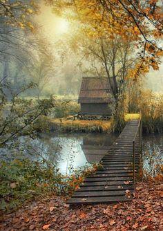 quaint autumn cabin