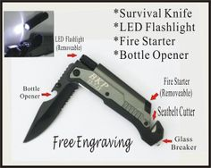 Valentines Day Gift - 1 Personalized Engraved Pocket Knife, Led Flashlight, Bottle Opener, Father Day, Best Man, Groomsmen Gifts.