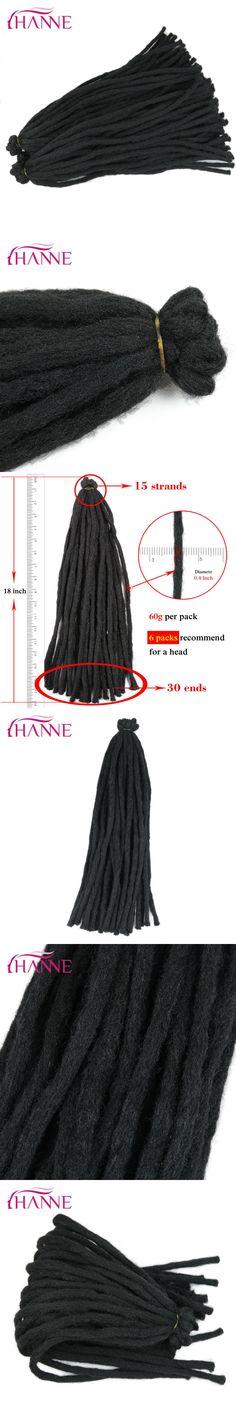 HANNE 18inch 65g Crochet Braids Black Dreadlocks High Temperature Synthetic Hair Extensions For Men/Black Women 15strands/pack