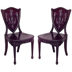 Pair of 19th c. English Adam Style Carved Mahogany Hall Chairs | From a unique collection of antique and modern side chairs at https://www.1stdibs.com/furniture/seating/side-chairs/